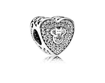 Authentic Pandora Disney Mickey and Minnie Sparkling Heart Charm