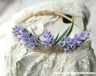 Lavender Floral Crown- Halo- Burlap- Rustic Crown- Boho Crown- Wedding Crown- Flower Girl Crown