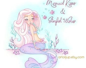 ON SALE Mermaid art print, mermaid decor- Mermaid kisses wall art