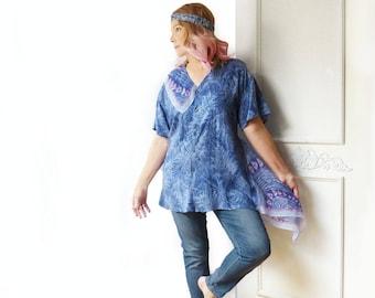 Plus size asymmetrical tunic, periwinkle blue, scarf, oversize top, artsy, tropical print, boyfriend shirt, Upcycled  clothing, eco clothing