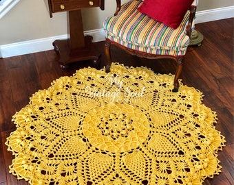 Yellow Doily Rug - Crochet Lace Rug - Pineapple Doily Rug - Handmade Rug - Farmhouse Decor - Wedding Gift - Nursery Room Decor - Area Rug