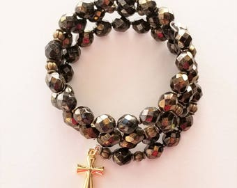 Black and Gold Marble Rosary Wrap Bracelet
