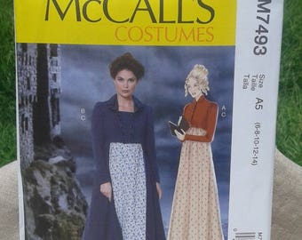 Misses Regency Dress Costume - Pride and Prejudice - Jane Austen Dress -  McCall's Costumes Sewing Pattern 7493 - Sizes 6 - 22