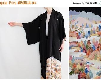 ON SALE Stunning Landscape Motif Japanese Kimono - Tomesode - Black Kimono - Long Kimono - Silk Kimono - Kimono Dress - Oriental Vintage - B