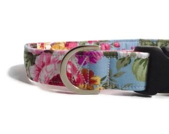 Blue/Pink Floral Dog Collar | Rose Dog Collar | Girl Dog Collar | Dog Collar | Floral Dog Collar | Small Dog Collar | Dog Lead and collar