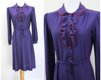 Vintage 70's Sheer Navy Blue Red Pin Stripe Dress with Front Ruffles