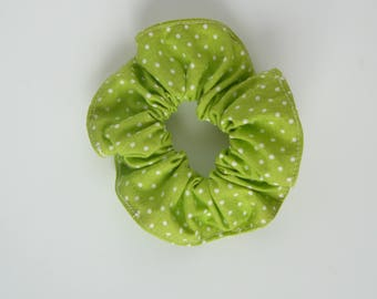 Darling little model lemon green fabric with white dots