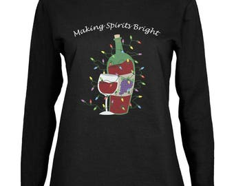 Christmas Making Spirits Bright Black Womens Long Sleeve T-Shirt