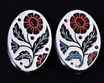 "Vintage Oval Folk Style Floral Flower Earrings Clip On Boho Chic Delicate Retro Jewelry 1"""