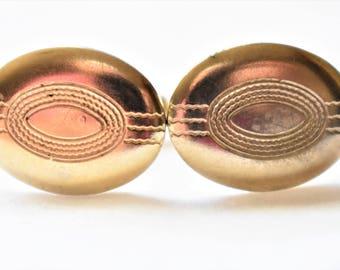 "Vintage Oval Art Deco Style Cufflinks Gold Tone Men's Formal Wear Wedding Suit Jewelry Accessories Gift 1/2"""