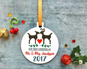First Christmas as Mr & Mrs, Mr and Mrs Ornament, Christmas Gift For Wife, Christmas Eve Gift, Newlywed Ornament, Husband Gift, Couples Gift