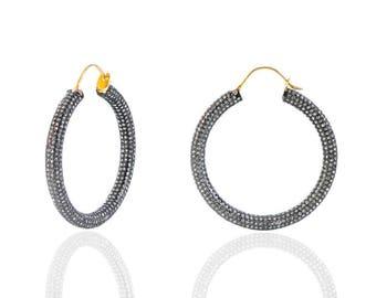Silver Diamond pave hoop earrings