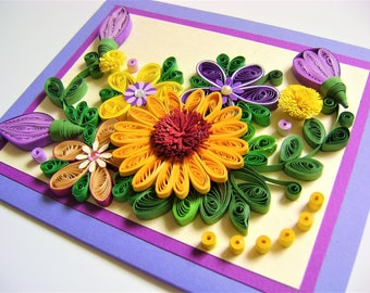 Birthday quilling picture,Quilling stylized flowers, Beautiful quilled greeting card,Quilled paper card,Colorful spring flowers,Collagepaper