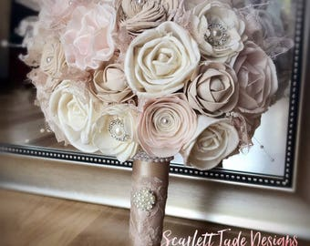 Vintage Wedding Bouquet, Sola flowers, Alternative bouquet, Classic wedding bouquet, Bridal bouquet, Bridesmaid bouquet, Champagne, Blush
