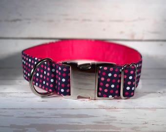 MADE TO ORDER- Pink and Navy Polka Dot Dog Collar, Choose width- Buckle or Martingale- add Embroidery and/or Leash