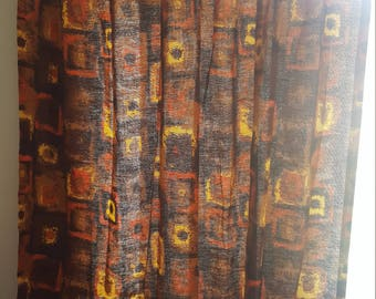 2 Mid Century Modern Curtain Panels - All Cotton Bark Cloth - Vintage 1960s Curtains -  Orange, Brown, Yellow - 31 x 64 inches each
