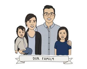 Family Portrait Illustration Custom - Custom Portrait, Custom Family Illustration, Custom Family Portrait, Paper Anniversary Couple Portrait