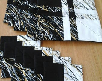 Table mat and coaster set, patchwork table mat, monochrome,  table mat, coaster, quilted place mat, quilted coaster