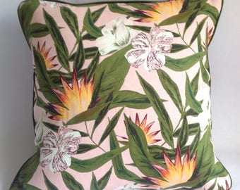 dusty pink bird of paradise flower print fabric with piping. handmade Cushion, pillow cover
