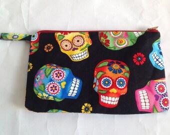 Handmade sugar skull fabric  mini clutch purse, pouch for cosmetics, mobile phone, passport