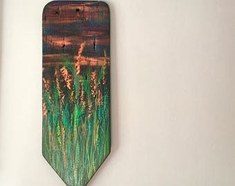 Decorative rustic wooden wall hanging featuring hand drawn wild grasses and dusk sky, cottage decor, upcycled wood, housewarming gift