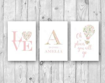 Girls Pink Floral Nursery Print Set Trio, Personalised Name Pink Floral Print Set, Pink Floral Art, Pink Floral Love Print, Baby Girl Decor