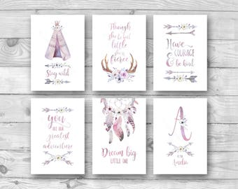 Set of 6 Girls Nursery Tribal Prints, Girls Boho Nursery Wall Art, Pink Boho Nursery Decor, Tribal Nursery Prints, Personalised Name Print