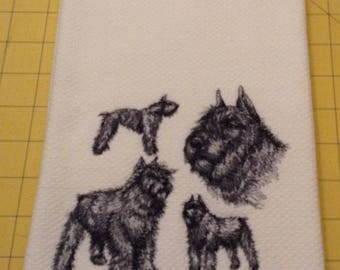 Bouvier des Flandres Collage Sketch Embroidered Williams Sonoma All Purpose Kitchen Hand Towel, 100% cotton, XL