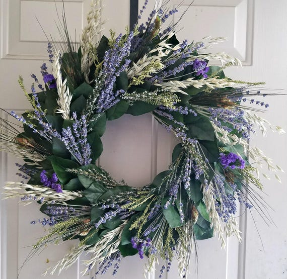 Reserved for netgalaxy -  Lavender wreath, custom sizes, preserved leaf wreath, preserved wreath, natural wreath, indoor wreath