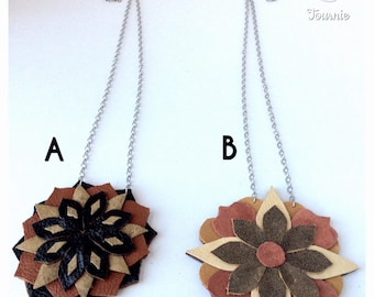 Recycled leather mandala necklace, handmade