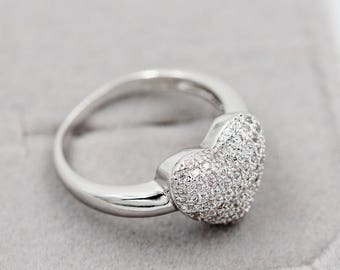 Heart shape Micro Pave Silver Plated Ring