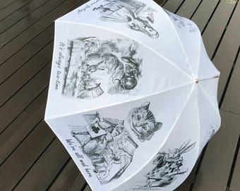 Alice in Wonderland / Umbrella / Party / Cheshire cat / Rabbit / White Rabbit / Mad Hatter / Alice / Caterpillar / Queen