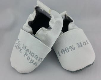 Baby shoes soft leather and leatherette, baby, boy, girl, child, personalized, 100%, baptism