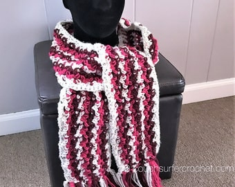 Striped Scarf Crochet Pattern / Striped Scarf Pattern / Crochet Pattern / Crochet Scarf Pattern