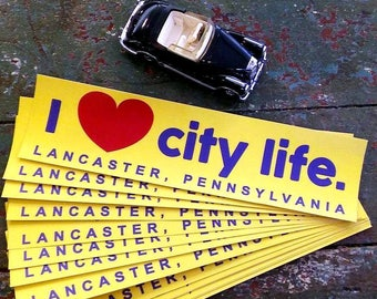 Love Lancaster Bumper sticker, retro,Pennsylvania,City Life,Made in USA