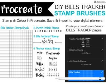 Procreate Brushes Bills Tracker Stamp Brush Bundle