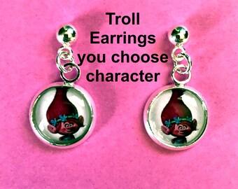 Trolls earrings,you choose image,trolls jewelry,trolls necklaces,trolls bracelets,trolls gifts,trolls,kids jewelry trolls,kids earrings