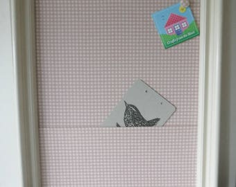 Cream frame, pink checked cotton with pocket pinboard