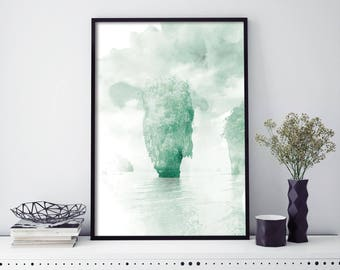 Khao Phing Kan, James Bond Island, Phuket, Thailand Watercolour Print Wall Art | 4x6 5x7 A4 A3 A2