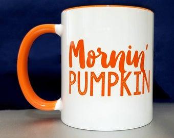 gift for coffee drinker, Coffee Gift For Her, Mornin' Pumpkin Coffee Mug gift, morning pumpkin (rts-orange)