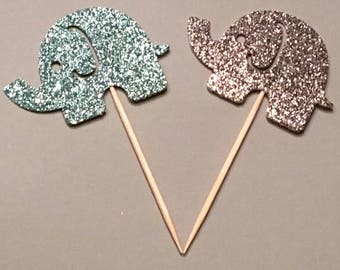 12 Elephant Toppers Glitter Toppers Silver and Blue Toppers Baby Shower Toppers Birthday  Toppers Boy Toppers