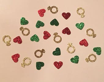 200 Diamond Ring and Hearts Confetti Glitter Confetti Shower Confetti Wedding Confetti Bachelorette Party Engagement Confetti Christmas
