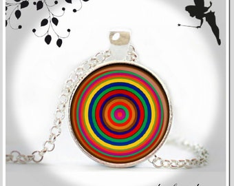 Cabochon necklace long chain of colorful rings KJR-025-036