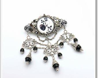 Hair Clip Gothic Black Rose raw-sil-009