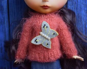 Sweater for Blythe with butterfly Blythe outfit  Blythe doll clothes Blythe jumper  Blythe berry sweater Blythe fluffy sweater