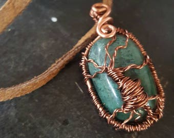 Tree of Life -- Gift for her // Boho Hippy Jewelry // Moss Agate Tree Necklace-  wire pendant on matching chain handmade necklace // Heady