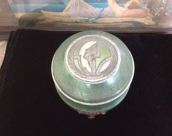 Art Deco Powder Box, Aluminum with Deco Lady Profile, Footed, Awesome Greens