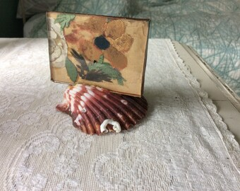 Antique, Victorian Salvage Fragment, Silk and Velvet of Silk, Glass Framed On Sea Shell.