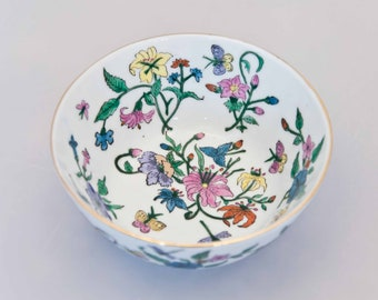 Vintage Oriental Floral Bowl with Lilies, Mums, Butterflies, and Dragonflies, Made in China