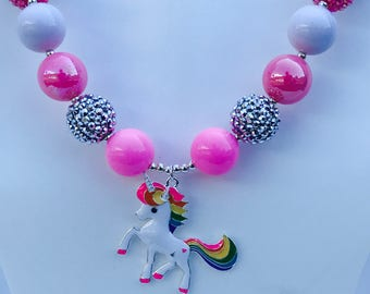 Unicorn Chunky Bubblegum Beaded Necklace, Unicorn Chunky Necklace, Unicorn Bubblegum Necklace, Unicorn Beaded Chunky Necklace, Unicorn Beads